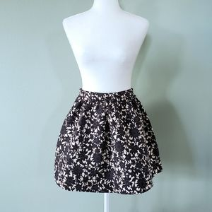 Frenchi black & beige floral poofy circle skirt S